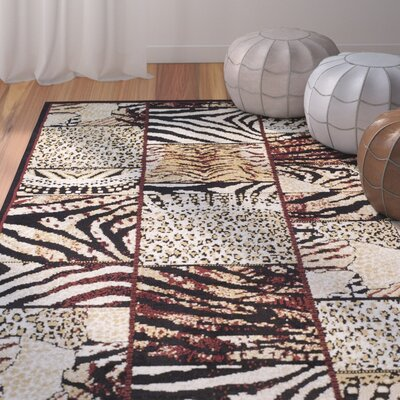 Dace Cheetah Synthetic Black/Gray Area Rug