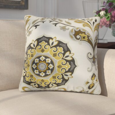 Cervin Floral Cotton Throw Pillow Cover Color: Brown Gray