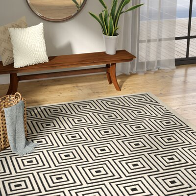 Candor Black/Beige Outdoor Area Rug Rug Size: Rectangle 53 x 77