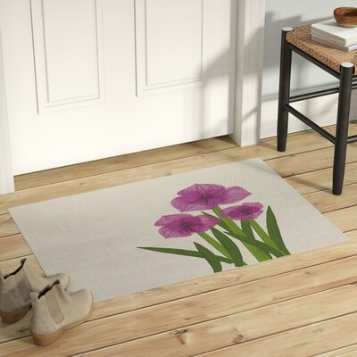 Amanda Amaryllis Floral Print Purple/Green Indoor/Outdoor Area Rug Rug Size: Rectangle 2 x 3
