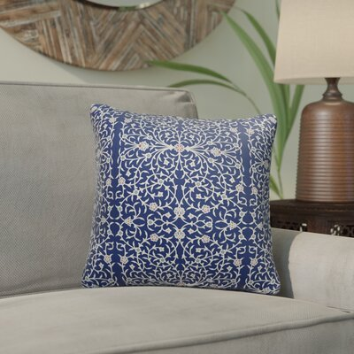 Elizebeth Indoor/Outdoor Throw Pillow Color: Blue/ Ivory, Size: 18 x 18