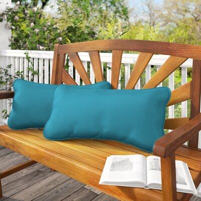 Derrytown Indoor/Outdoor Sunbrella Lumbar Pillow Color: Teal, Size: 12 H x 24 W