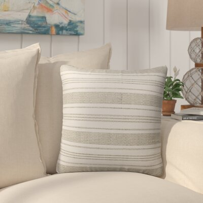 Pinehurst Burlap Modern Indoor/Outdoor Throw Pillow Size: 16 H x 16 W x 5 D, Color: Beige/ White