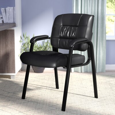 Leather Blend Guest Chair Leather Color: Black, Frame Finish: Black metal frame