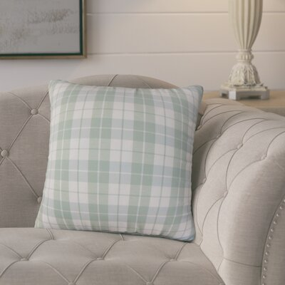 Joan Plaid Throw Pillow Cover Color: Aqua