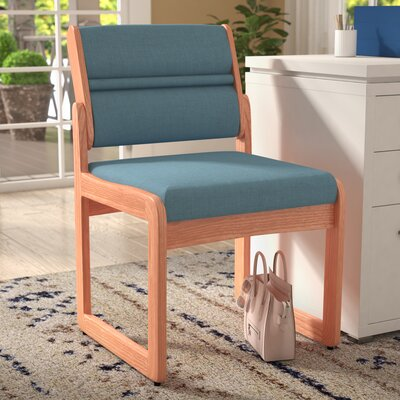 Guest Chair Wood Finish: Light Oak, Fabric: Powder Blue, Arms: Included