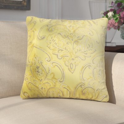Chancellor Floral Throw Pillow Color: Yellow, Size: 18 x 18