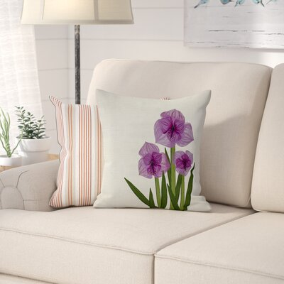 Amanda Amaryllis Floral Print Throw Pillow Size: 16 H x 16 W, Color: Purple