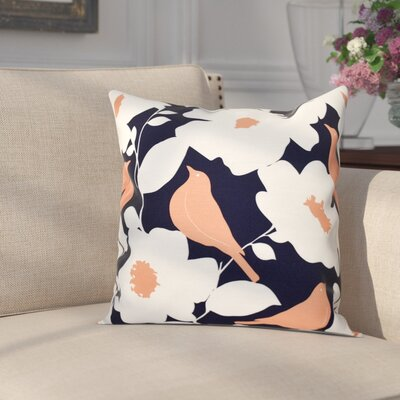 Franca Modfloral Floral Print Throw Pillow Size: 26 H x 26 W, Color: Navy Blue