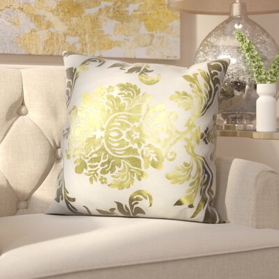 Evangeline Decorative Throw Pillow Color: White/Gold