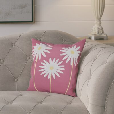 Omar Floral Print Throw Pillow Size: 16 H x 16 W x 1 D, Color: Pink Cheeks