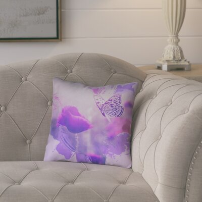 Elwyn Watercolor Butterfly and Rose Linen Pillow Cover Size: 26 x 26