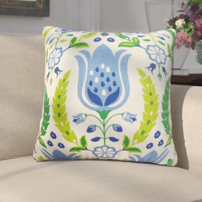 Mifflin Floral Cotton Throw Pillow Color: Ultramarine, Size: 20 x 20