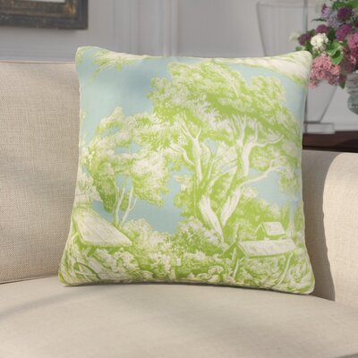 Chalgrave Toile Cotton Throw Pillow Cover Color: Green