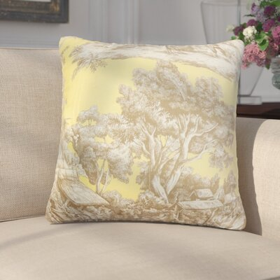 Wellhead Toile Cotton Throw Pillow Color: Yellow, Size: 24 x 24