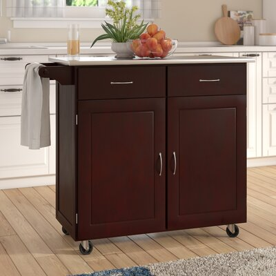 Southerland Large Kitchen Cart with Stainless Steel Top Base Finish: Espresso