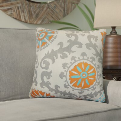 Brindalla Cotton Throw Pillow Color: Mandarin, Size: 18 x 18