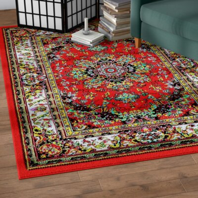 Dunlap Red Indoor/Outdoor Area Rug Rug Size: 5 x 7
