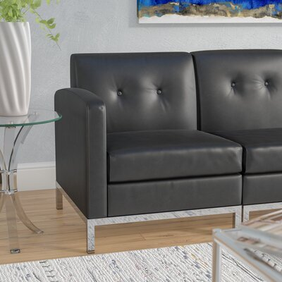 Mapleton Leather Lounge Chair Upholstery: Black