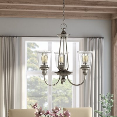 Marseilles 3-Light Shaded Chandelier Finish: Classic Pewter