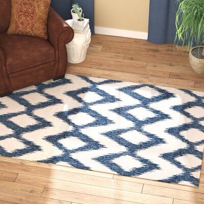 Jayceon Blue/Cream Ikat Area Rug Rug Size: Rectangle 5 x 8