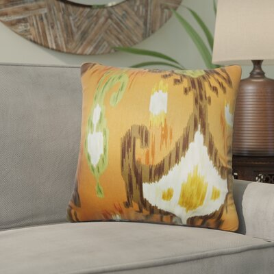 Bringewood Ikat Cotton Throw Pillow Cover Color: Orange Brown