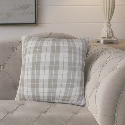 Joan Plaid Cotton Throw Pillow Cover Color: Slate