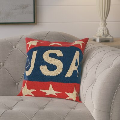 Marshall Handmade Hooked Patriotic American Flag Outdoor Pillow Cover