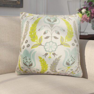 Mifflin Floral Throw Pillow Cover Color: Gray Green