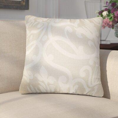 Milledgeville Floral Cotton Throw Pillow Cover Color: Linen