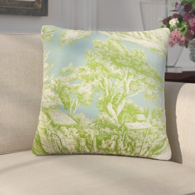 Wellhead Toile Cotton Throw Pillow Color: Aqua Green, Size: 18 x 18