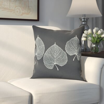 Leatham Leaf 2 Floral Throw Pillow Size: 16 H x 16 W, Color: Black