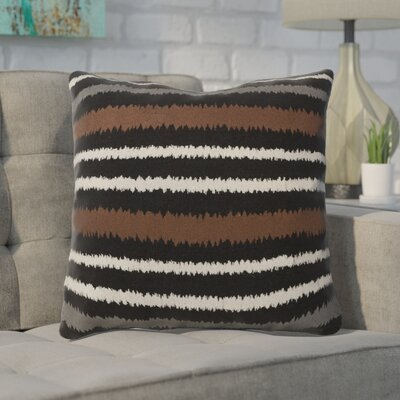 Arrey Vertical Stripes Linen Throw Pillow Size: 22 H x 22 W x 4 D, Color: Caviar/Papyrus/Robins Egg Blue/Flint Gray, Filler: Down