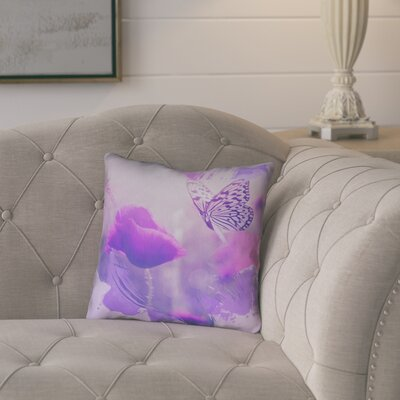 Elwyn Watercolor Butterfly and Rose Zipper Throw Pillow Size: 18 x 18