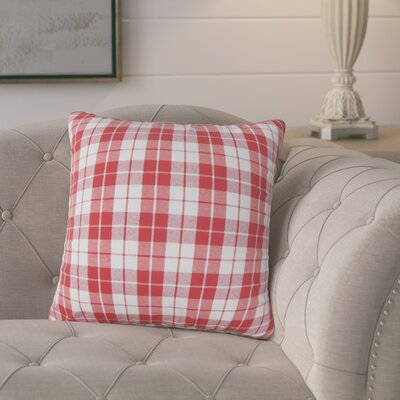 Joan Plaid Cotton Throw Pillow Cover Color: Red
