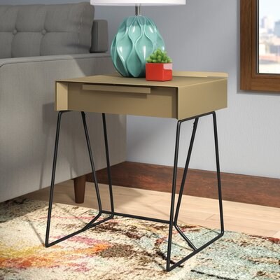Backman End Table with Storage Color: Champagne