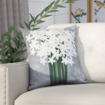 Amanda Paperwhites Floral Print Outdoor Throw Pillow Size: 18 H x 18 W, Color: Gray