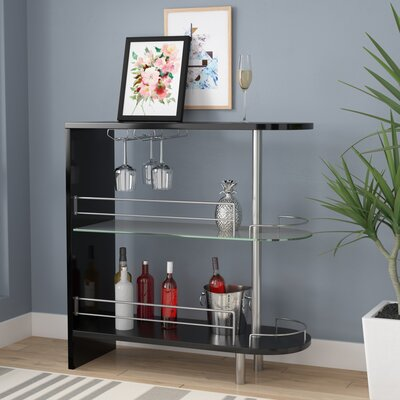 Milwaukee Bar with Wine Storage Finish: Black