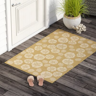 Clatterbuck Shell Toss Almond/Camel Indoor/Outdoor Area Rug Rug Size: Rectangle 33 x 411