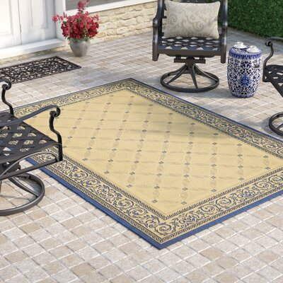 Beasley Garden Gate Ivory/Navy blue Rug Rug Size: Square 710