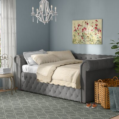 Gowans Wood Button Tufted Linen Daybed Color: Gray