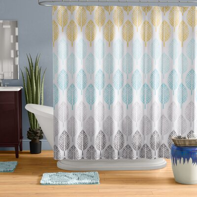 Utterback Printed Shower Curtain Color: Yellow/Aqua/Gray
