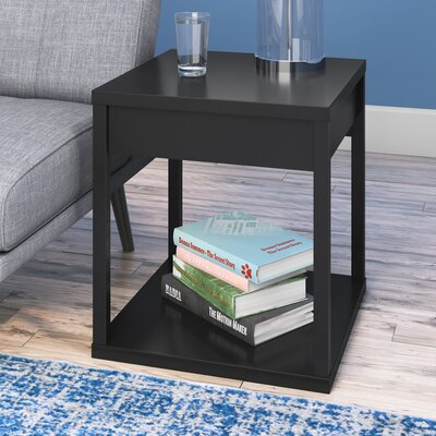 Maxon End Table With Storage Color: Black