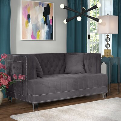 Hettie Chesterfield Loveseat Upholstery: Gray