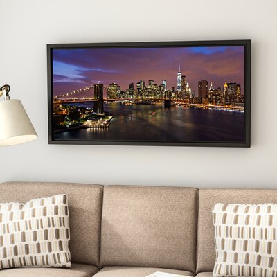 'NYC Skyline with Brooklyn Bridge Panoramic' by Cody York Framed Photographic Print on Wrapped Canvas Size: 12