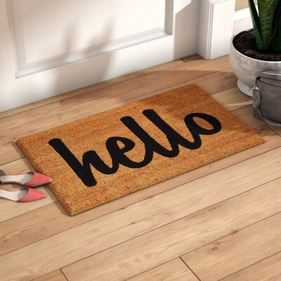 Groesbeck Hello Doormat Mat Size: 2 x 3, Color: Tan/Black