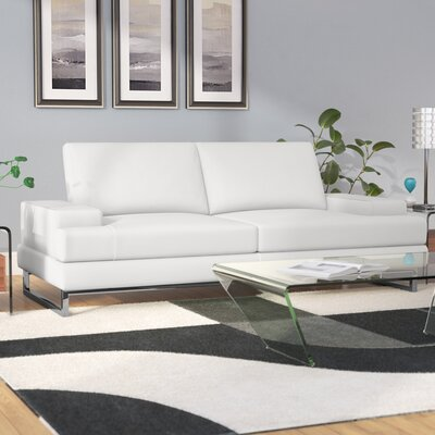 Angeline Leather Sofa Upholstery: White