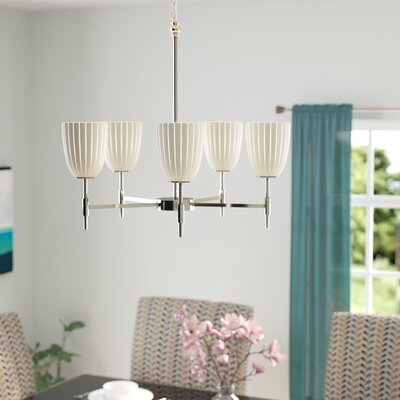 Luzerne 5-Light Shaded Chandelier Finish: Polished Chrome, Shade Color: Opal