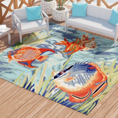 Clowers Tropical Hand-Tufted Blue Indoor/Outdoor Area Rug Rug Size: Square 8 x 8