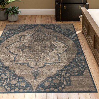 Ismael Floral Taupe/Aqua Area Rug Rug Size: Rectangle 5 x 8